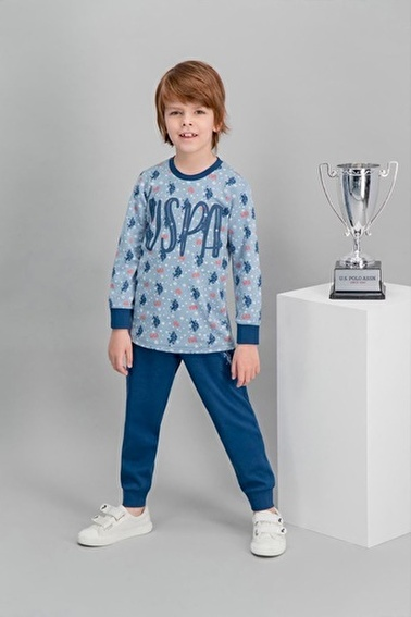 U.S. Polo Assn. U.S. Polo Assn Lisanslı Mavi Erkek Çocuk Pijama Takımı Mavi